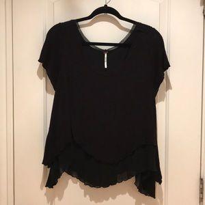 Free People Black Flowy Ruffle-Edged Shirt